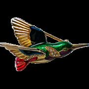 Jewel Tone Humming Bird Pin