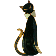 Sassy Black Siamese Cat Pin