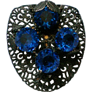 Deep Blue Glass Filigree Dress Clip