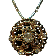 Gold tone Rhinestone Pendant  Necklace