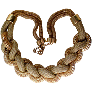 Chunky Braided Metal and Fiber Necklace
