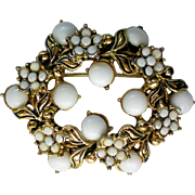 Antiqued Gold tone Milk Glass Wreath Brooch
