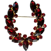 Ruby Red Rhinestone Horseshoe Brooch