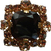 Deep Brown Faceted Glass and Amber Rhinestone Brooch