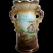 Austria Double Handle Rural Scene Vase