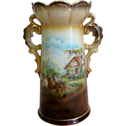 Austria Double Handle Rural Scene Vase