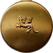 Gold tone Lizard or Gecko Purse Compact or Pill Container