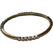 Graziano Gold tone Metal Rhinestone Bangle