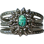 Silver tone Metal Cuff Bracelet with Scarab Beetle Stone