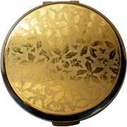 Floral Design Gold tone Metal Powder Compact