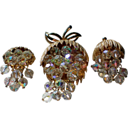 Fabulous Sparkling AB Dangle Bead Brooch with Clip Earrings