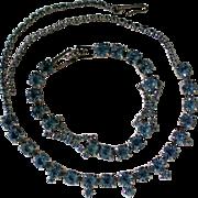 Petite Baby Blue Rhinestone Necklace & Bracelet