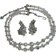 Aurora Borealis Austrian Crystal Glass Bead Double Strand Necklace with Clip Earrings
