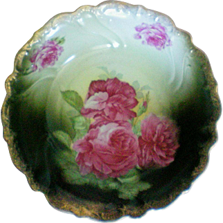 Hand Painted Deep Serving Bowl from Bavaria marked RW (Rudolf Wachter), circa 1920's