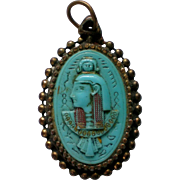 Egyptian Faience Large Pendant Necklace