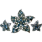 Sarah Coventry Star Fire Brooch and Clip Earrings Set
