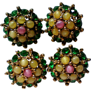 Vintage Rhinestone Prong Buttons – Set of Four
