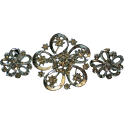 Pretty Rhinestone Brooch & Screw Back Earrings