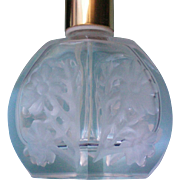 Etched Floral Glass Perfume Bottle