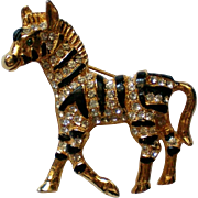 Rhinestone and Black Striped Zebra Pin