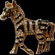 Rhinestone and Black Striped Zebra Pin