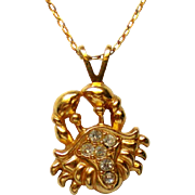 Tiny Crab Cancer Zodiac Sign Pendant Necklace by Avon