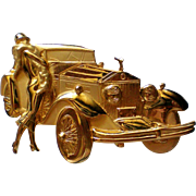 Figural Rolls Royce Car with Lady Pin by JJ Jonette Jewelry