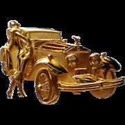 Figural Rolls Royce Car with Lady Pin by JJ Jonette Jewelry