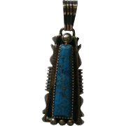 Navajo Indian Native American Lapis Lazuli Sterling Silver Pendant marked RB