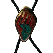 Bear Paw Coral & Turquoise Bolo Tie Clip