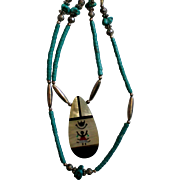 Native American Double Strand MOP & Turquoise Necklace