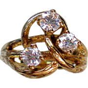Large Three Stone CZ Ring