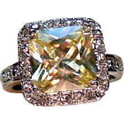 Lemon Yellow Square Cut CZ Solitaire Ring