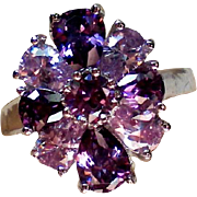 Pear & Round Cut Amethyst CZ Ring