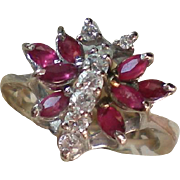 Old School Glass Faux Ruby & Diamond Cocktail Ring