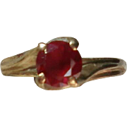 10K Gold Setting with Ruby Solitaire Ring