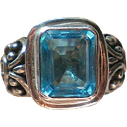 Sterling Silver Emerald Cut Aqua Topaz Ring