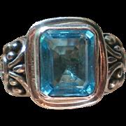Sterling Silver Emerald Cut Aqua Topaz Ring