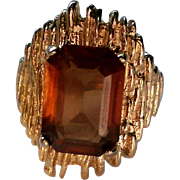 HUGE Deep Amber Colored Cocktail Ring in Gold Tone Setting
