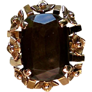 14K Gold Natural Smoky Quartz Ring
