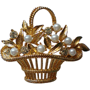 Gold tone Flower Basket with Faux Pearls & Rhinestones Pin