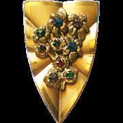 Floral Bouquet Gold Tone Fur / Dress Clip