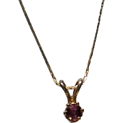 Deep Red Garnet Pendant with 14K Chain