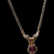 Deep Red Garnet Pendant with 14K Chain