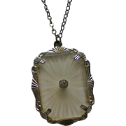 Mock Art Deco Camphor Glass with Diamond Pendant Necklace