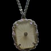 Mock Art Deco Camphor Glass with Diamond Pendant Necklace