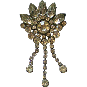 HUGE Foil Backed Rhinestone Dangle Brooch