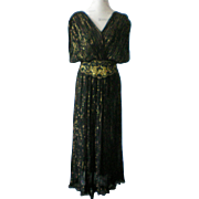 Cotton Gold Thread Evening Dress with Jacket