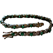 Sterling Silver Simulated Emerald Tennis Bracelet