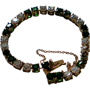 Green & Crystal CZ Tennis Bracelet